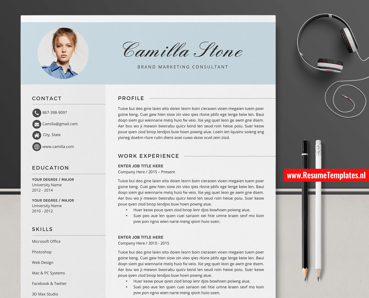 Creative Cv Template Resume Template Word Curriculum Vitae