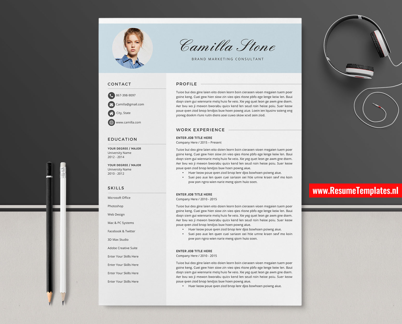 Creative CV Template / Resume Template Word, Curriculum Vitae, Cover Letter, Editable Resume ...