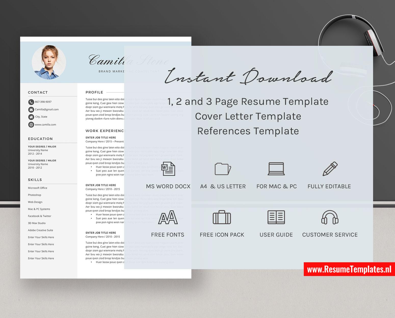 Creative Cv Template Resume Template Word Curriculum Vitae