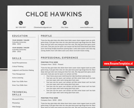 modern cv template    resume template for ms word