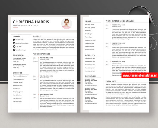 Modern Cv Template Resume Template For Word Clean Curriculum