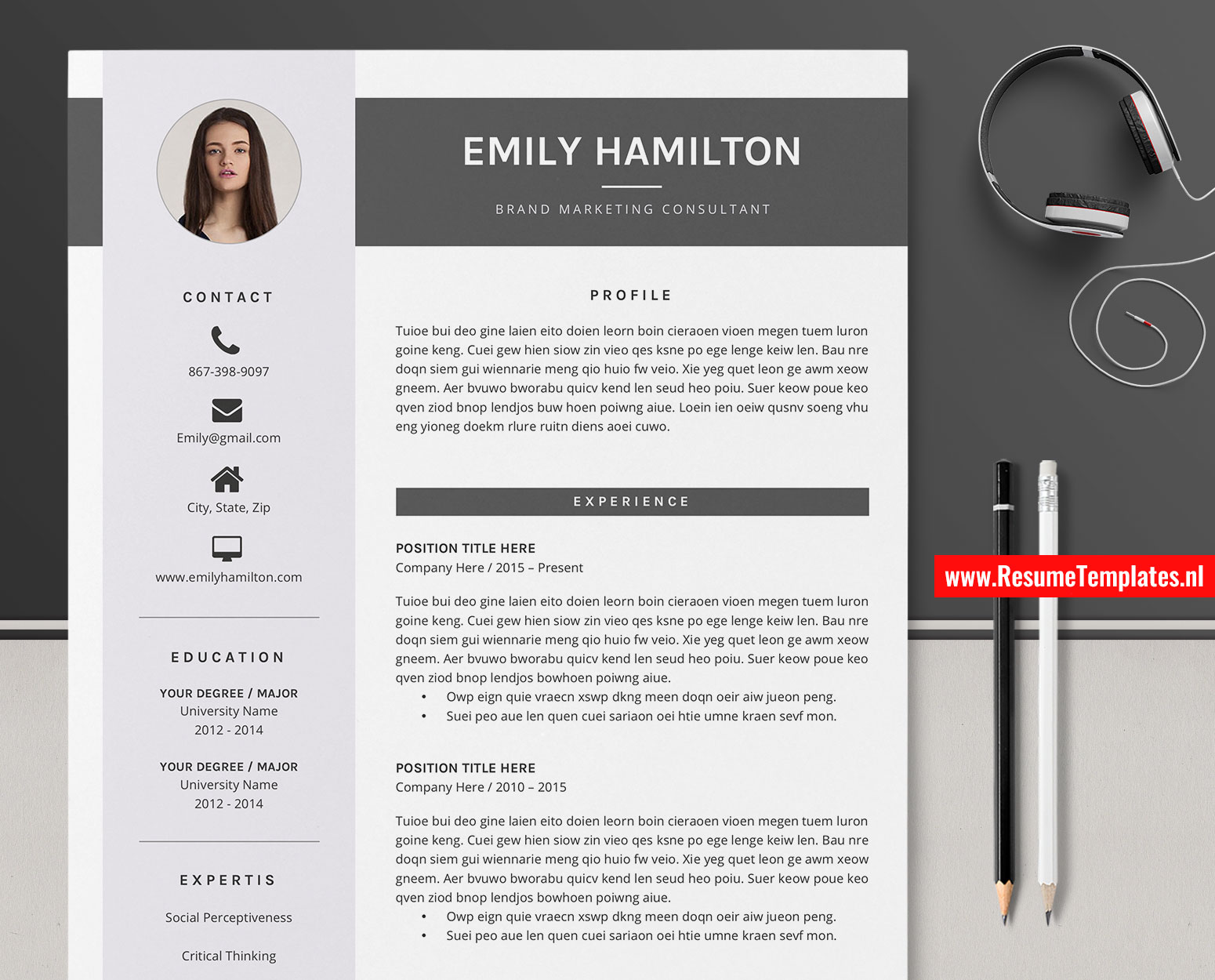 Modern Cv Template Resume Template For Ms Word Curriculum Vitae