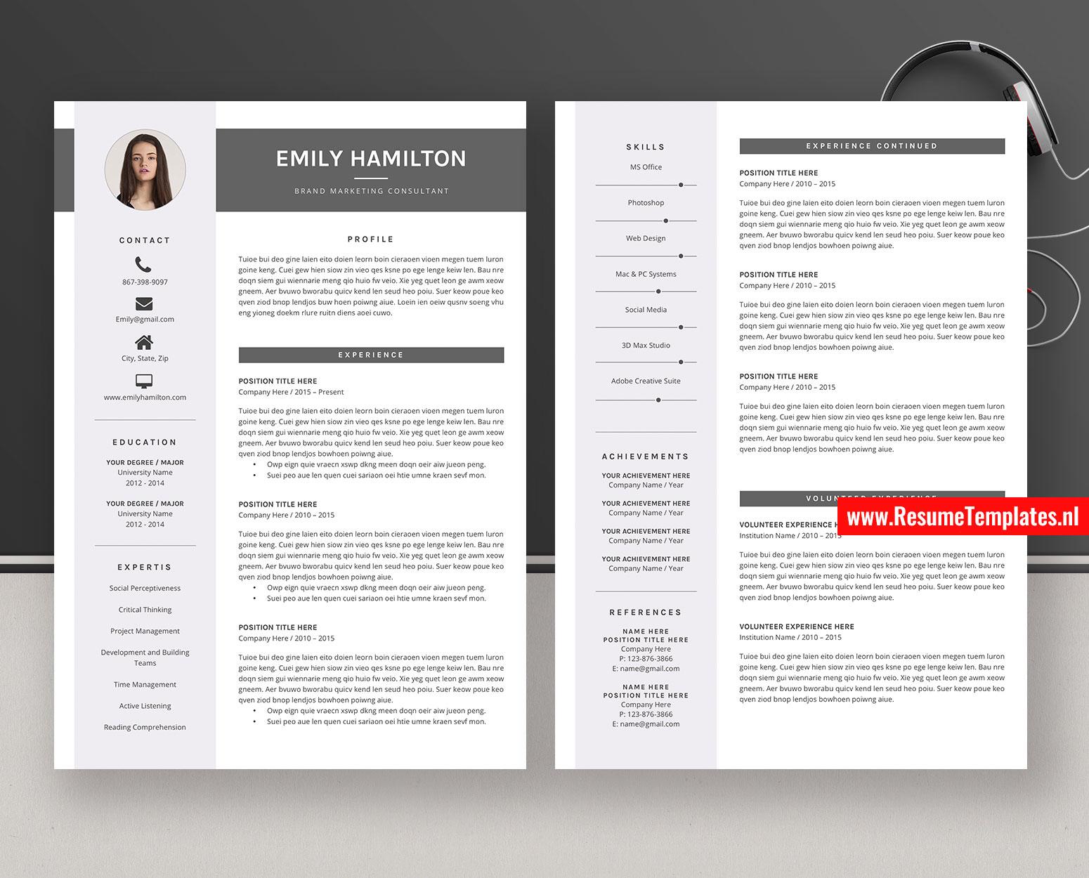 Modern Cv Template Resume Template For Ms Word Curriculum Vitae