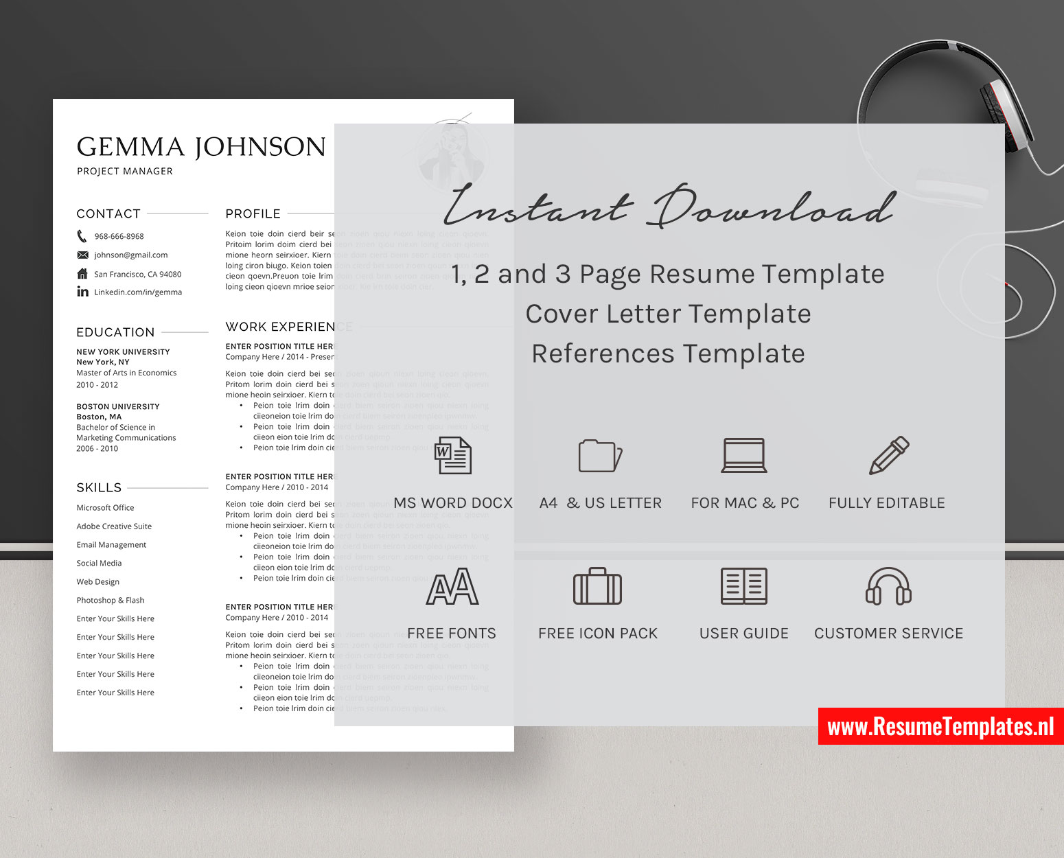 Minimalist Cv Template Resume Template Word Simple Resume