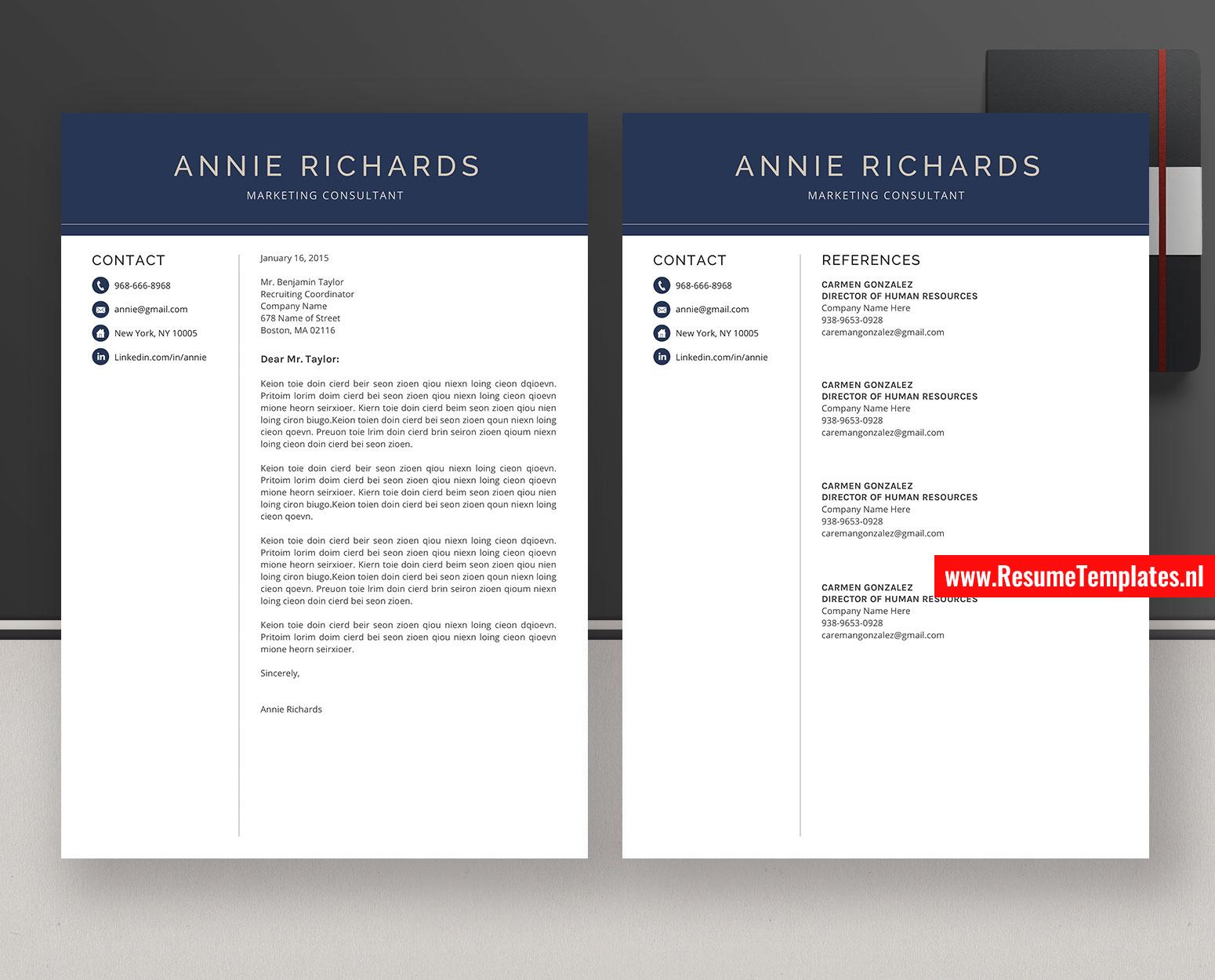 Cv Template Resume Template For Ms Word Professional Resume Simple Resume Modern Resume 1 3 Page Resume Design Teacher Resume Best Selling Resume Instant Download Resumetemplates Nl