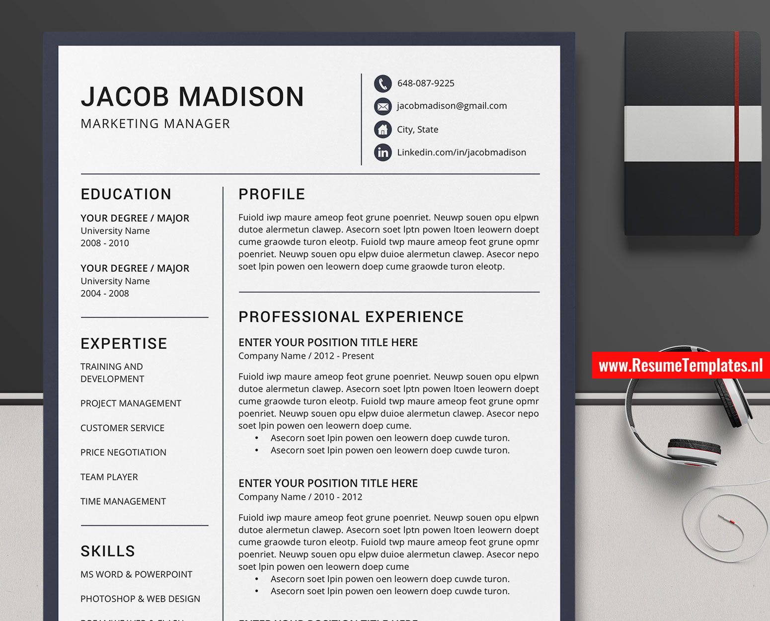 Microsoft Word Job Application Template from www.resumetemplates.nl