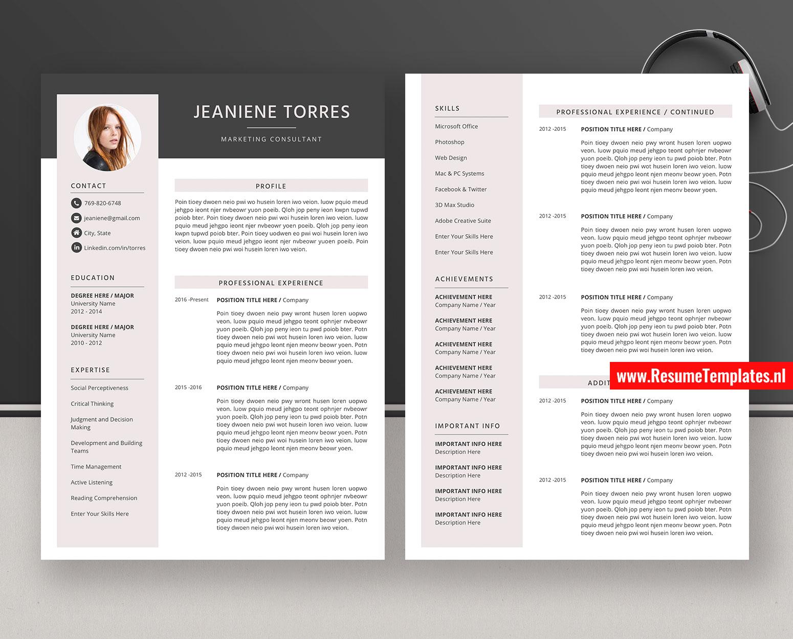 Editable CV Template / Resume Template for Microsoft Word, Curriculum Vitae, Professional Resume ...