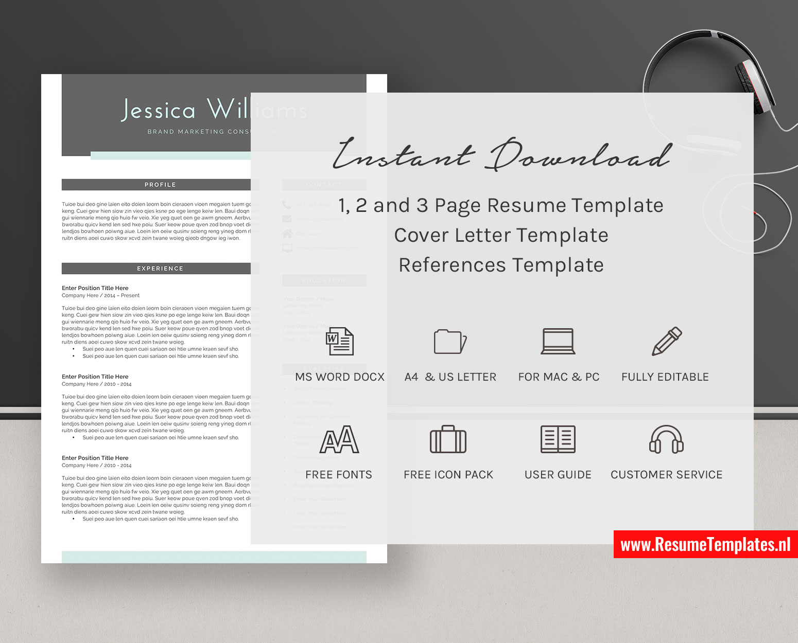 Professional Cv Template Resume Template Cover Letter Ms Word