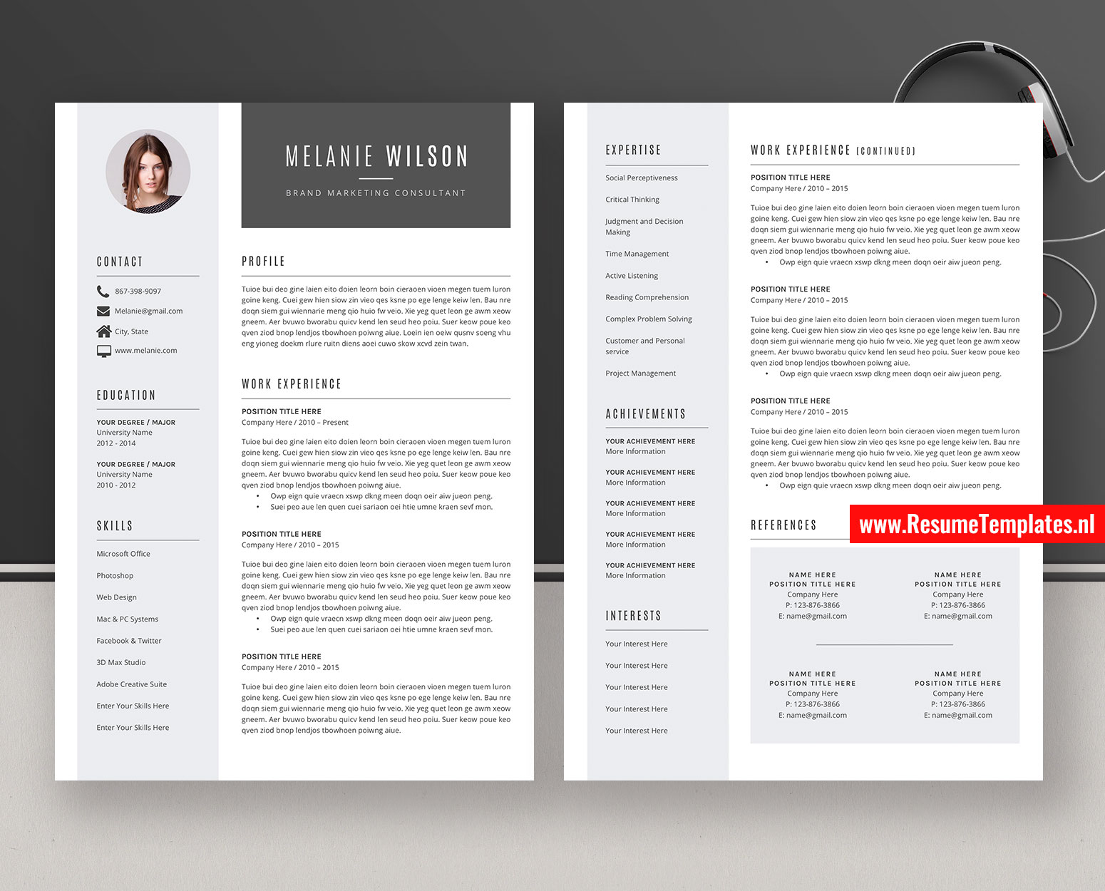Modern Cv Template Resume Template For Ms Word Curriculum Vitae Cover Letter References Professional And Creative Resume Teacher Resume 1 Page 2 Page 3 Page Resume Instant Download Resumetemplates Nl