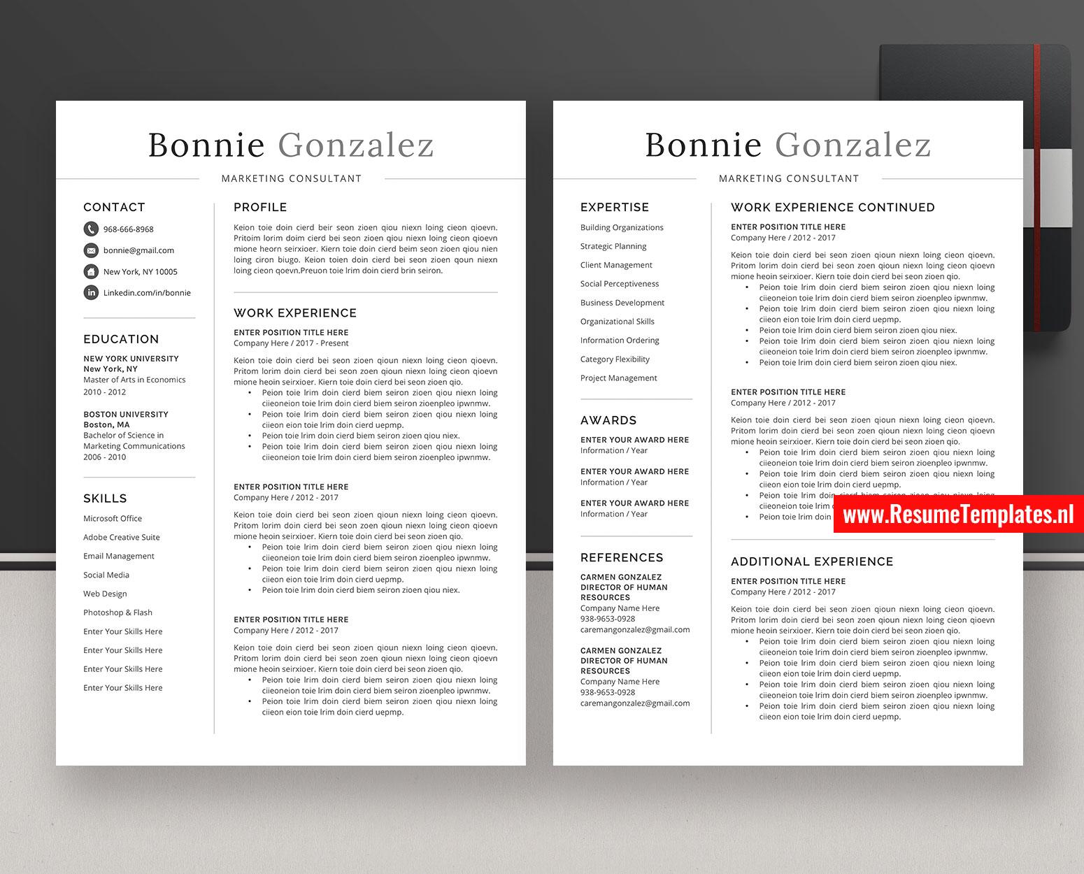 Minimalist Cv Template Resume Template Word Simple Resume